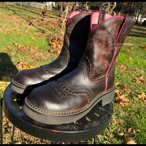 Ariat Fat Baby Cowboy Boots Black Brown Pink 7 1/2